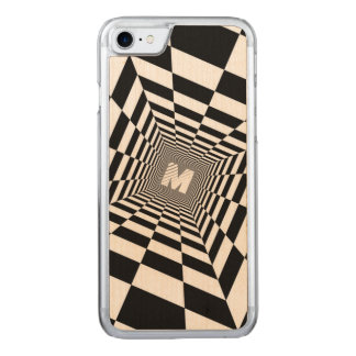 Capa iPhone 8/ 7 Carved Ilusão óptica preta & branca, monograma branco