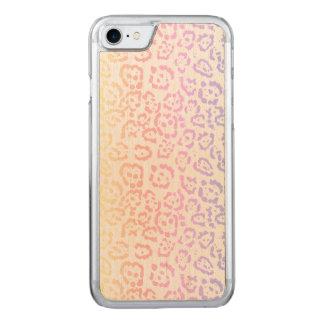 Capa iPhone 8/ 7 Carved Impressão animal do arco-íris Pastel do leopardo