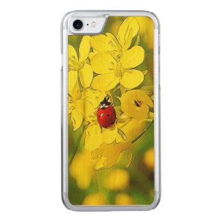 Capa iPhone 8/ 7 Carved Joaninha amarelo do vermelho da boa sorte da flor