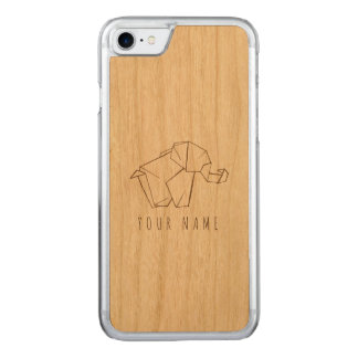 Capa iPhone 8/ 7 Carved madeira do caso do iPhone 7 e elefante do origami