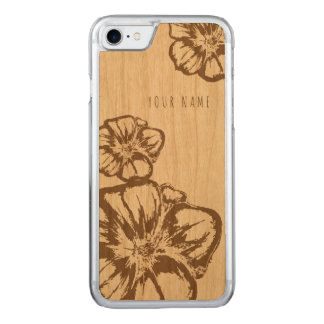 Capa iPhone 8/ 7 Carved madeira do caso do iPhone 7 e floral