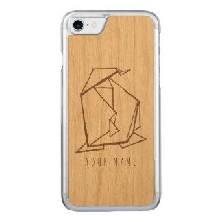 Capa iPhone 8/ 7 Carved madeira do caso do iPhone 7 e pinguim do origami