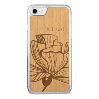 Capa iPhone 8/ 7 Carved madeira e flor do caso do iPhone 7