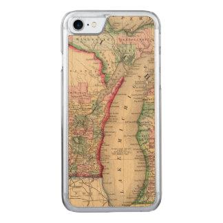 Capa iPhone 8/ 7 Carved Mapa de Michigan, Wisconsin por Mitchell