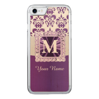 Capa iPhone 8/ 7 Carved Monograma roxo e branco do damasco