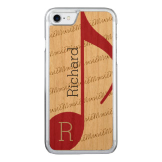 Capa iPhone 8/ 7 Carved musical-nota vermelha real-legal