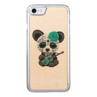 Capa iPhone 8/ 7 Carved Panda azul do crânio do açúcar que joga a guitarra