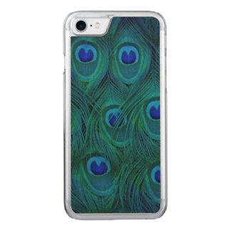 Capa iPhone 8/ 7 Carved Pena parisiense do pavão do verde da cerceta do