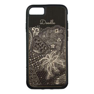 Capa iPhone 8/ 7 Carved Personalize: Tinta branca na arte preta do Doodle