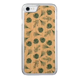 Capa iPhone 8/ 7 Carved Pinecones verde e as agulhas modelam o caso do