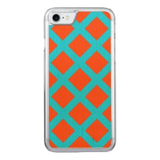 Capa iPhone 8/ 7 Carved Teste padrão corajoso dos quadrados do azul da