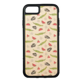 Capa iPhone 8/ 7 Carved Teste padrão tropical da melancia & do crocodilo