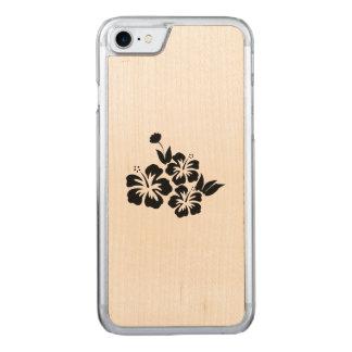 Capa iPhone 8/ 7 Carved Três flores tropicais do hibiscus preto