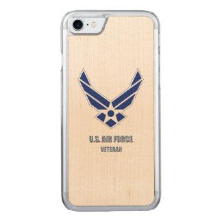Capa iPhone 8/ 7 Carved U.S. iPhone do veterano da força aérea/caixa