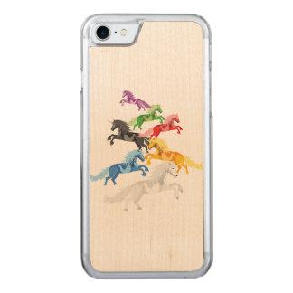 Capa iPhone 8/ 7 Carved Unicórnios selvagens coloridos da ilustração
