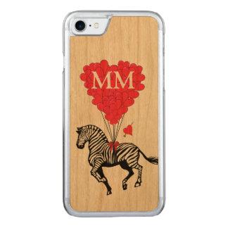 Capa iPhone 8/ 7 Carved zebra do vintage e coração do amor