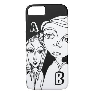 Capa iPhone 8/ 7 Casal do Doodle & duas letras personalizadas