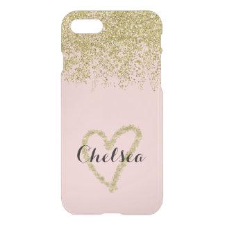 Capa iPhone 8/7 Cascata do brilho de quartzo cor-de-rosa e de ouro