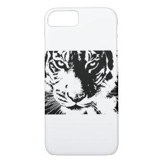 Capa iPhone 8/ 7 Caso com um tigre preto e branco do impressão