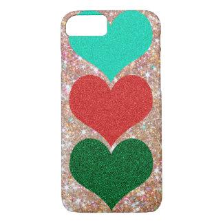 Capa iPhone 8/ 7 caso de brilho do coração