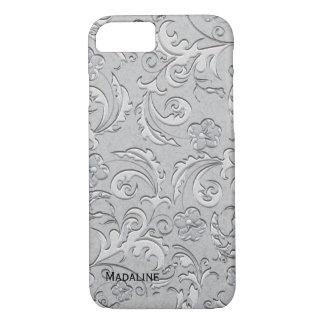 Capa iPhone 8/ 7 Caso de prata do iPhone 7 de brocado