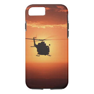 Capa iPhone 8/ 7 Caso do iPhone 7 da silhueta do helicóptero