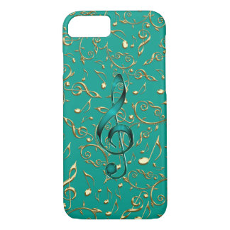 Capa iPhone 8/ 7 Caso do iPhone 7 das notas e dos Clefs da música
