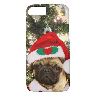 Capa iPhone 8/ 7 Caso do iphone 7 do cão do Pug do Natal