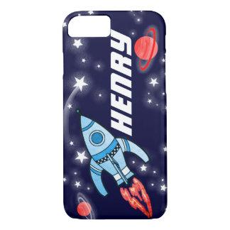 Capa iPhone 8/ 7 Caso do iPhone 7 do marinho do espaço do foguete