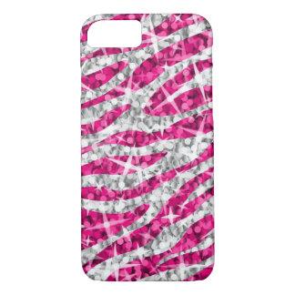 Capa iPhone 8/ 7 Caso do iPhone 7 do rosa da zebra do Glitz