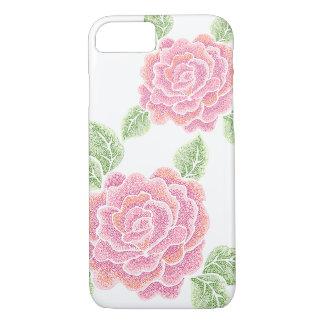 Capa iPhone 8/ 7 caso do iPhone 7 dos rosas do ponto