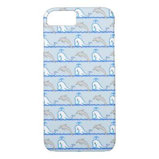 Capa iPhone 8/ 7 Caso do telemóvel da baleia & do golfinho