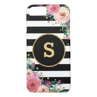 Capa iPhone 8/ 7 Caso floral chique do iPhone 7 do ouro do preto do