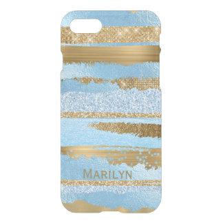 Capa iPhone 8/7 Caso Glam do iPhone 7 do azul e do ouro