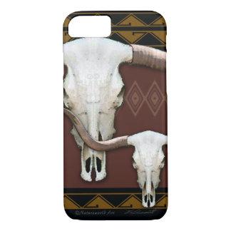 Capa iPhone 8/ 7 Caso ocidental do iPhone 7 do crânio de Longhorn
