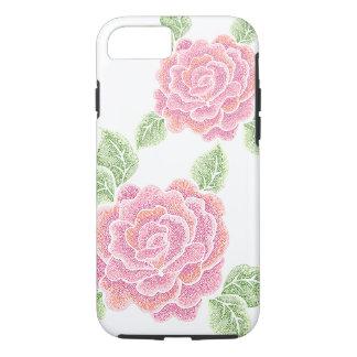 Capa iPhone 8/ 7 caso resistente do iPhone 7 dos rosas do ponto