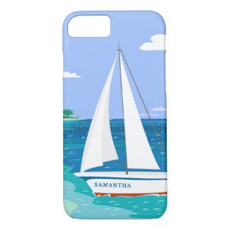 Capa iPhone 8/ 7 Caso tropical litoral do iPhone 7 do veleiro do