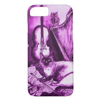Capa iPhone 8/ 7 CAT MUSICAL, violeta e branco roxos
