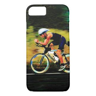 Capa iPhone 8/ 7 Cavaleiro colorido da bicicleta com seu nome