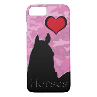 Capa iPhone 8/ 7 Cavalo do coração mim (camo cor-de-rosa)