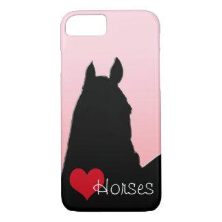 Capa iPhone 8/ 7 Cavalos do coração mim (rosa desvanecido)