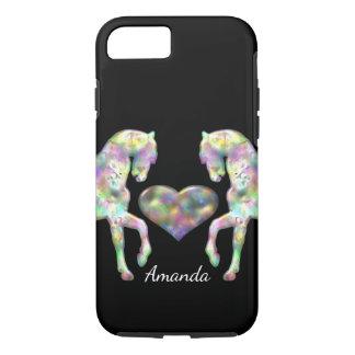 Capa iPhone 8/ 7 Cavalos e coração bonitos do arco-íris