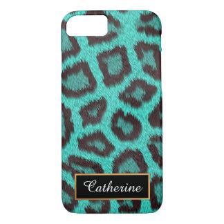 Capa iPhone 8/ 7 Cerceta, leopardo personalizado com nome