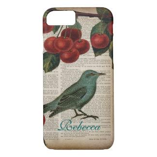 Capa iPhone 8/ 7 cereja vermelha botânica retro do pássaro francês