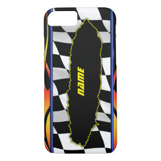 Capa iPhone 8/ 7 Chamas Checkered rasgadas da bandeira e do hot rod