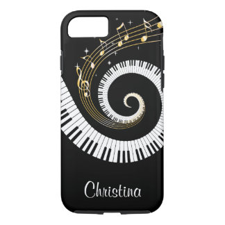 Capa iPhone 8/ 7 Chaves customizáveis do piano e notas da música do