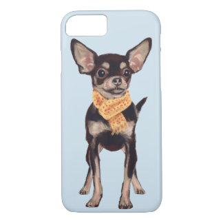 Capa iPhone 8/ 7 Chihuahua de Scarfed (cor do fundo editável)