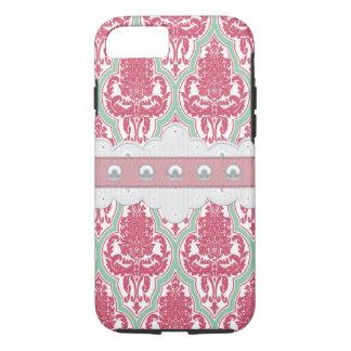 Capa iPhone 8/ 7 Chique cor-de-rosa & damasco da cerceta