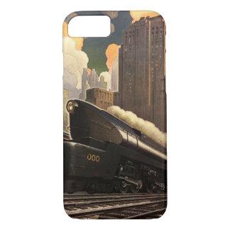 Capa iPhone 8/ 7 Cidade do vintage, trem do duplex T1 em trilhas de