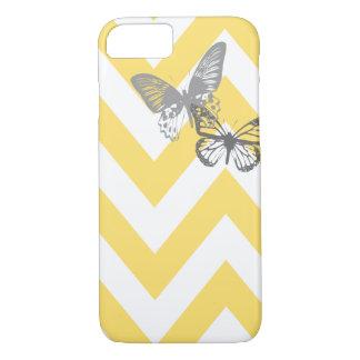 Capa iPhone 8/ 7 Cinza amarelo do caso | do iPhone 7 das borboletas